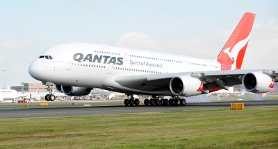 The First A380 for Australian Carrier QANTAS arrives at Sydney's International Airport Australia